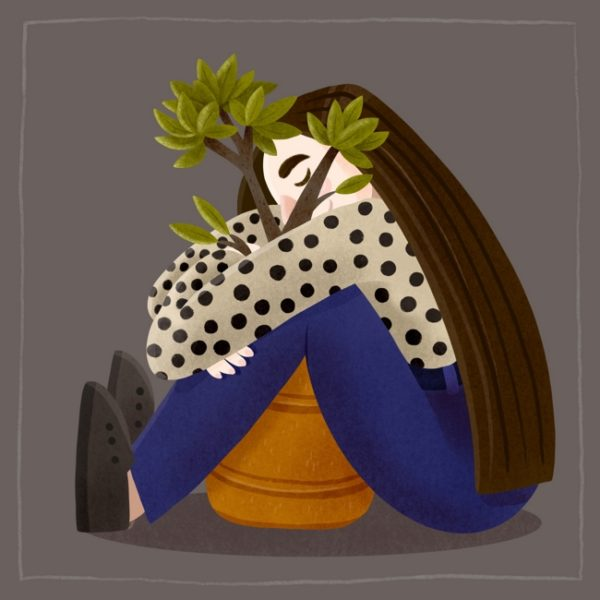This simplistic illustration shows a girl sitting on the floor and huggin a large plant pot with a green plant in it.