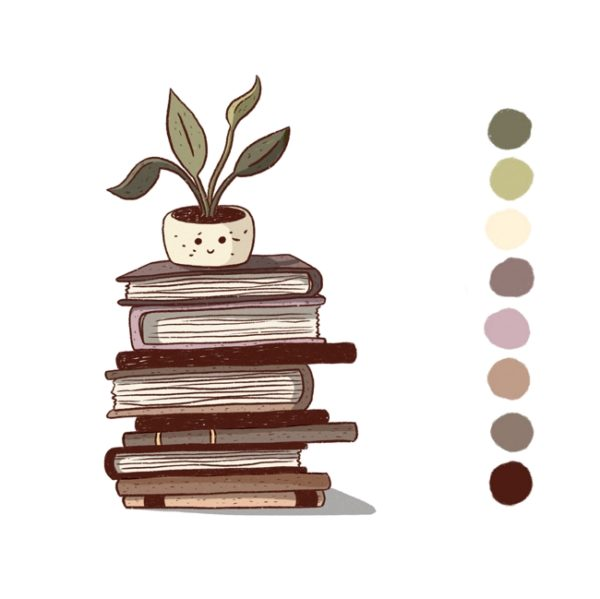 A cute little illustration of a potted plant with a friendly face sitting on a pile of books.