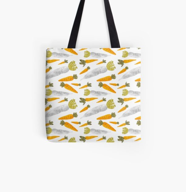 Tote bad with illustrated root vegetable pattern.