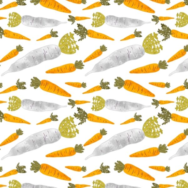 Seamless pattern made of carrots and radishes.