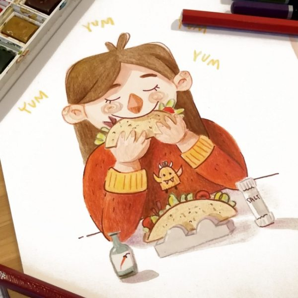 Watercolor illustration of a girl who is enjoying a tacco having her eyes closed while eating it. In front of her a second tacco is waiting to be dispatched.