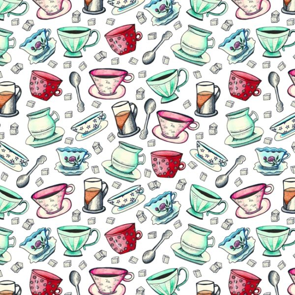 A repeated pattern of handdrawn teacups, sugar cubes and tea spoons.