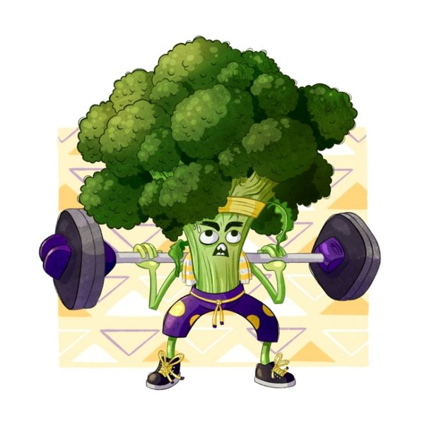 Illustration of a broccoli squatting with weights on a bar and sweating.