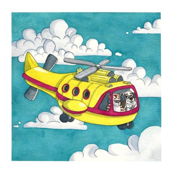 Hund und Katze fliegen mit einem Helikopter.