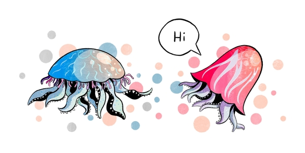 Illustration von zwei bunten Quallen, die sich begrüßen. In einer Sprechblase steht