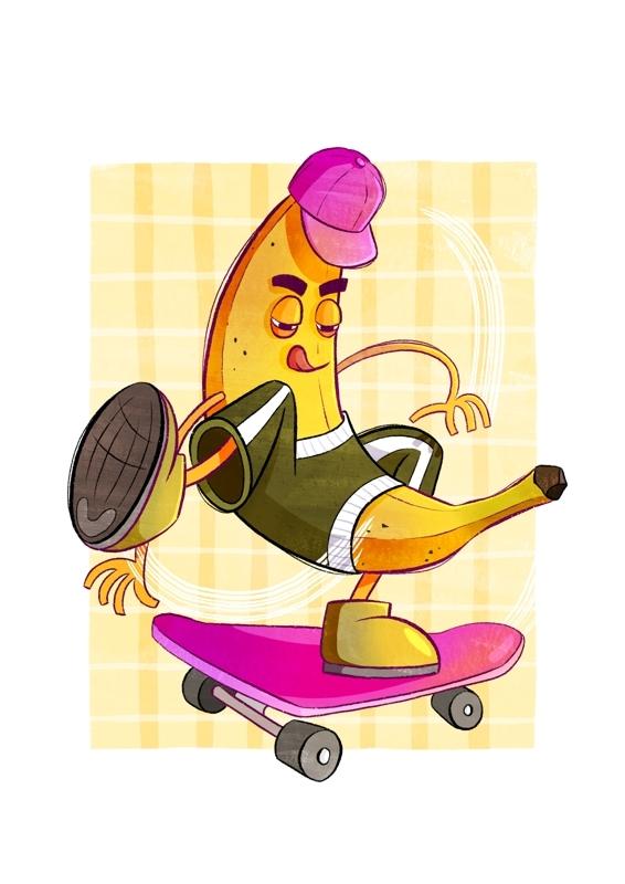 Eine Banane, die Skateboard fährt. Sie trägt ein Basecap, Schuhe und ein Shirt.