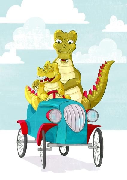 Ein großes Krokodil schiebt ein Babykrokodil auf einem Tretauto an.