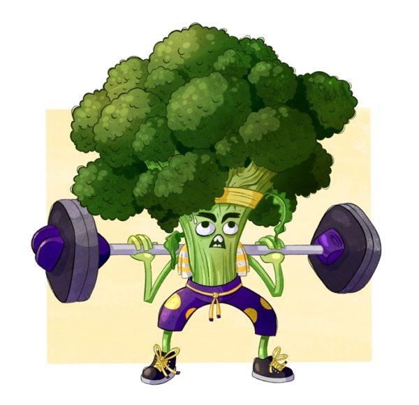 Illustration eines sehr angestrengt aussehenden Brokkolis, der Squats mit Langhantel macht.