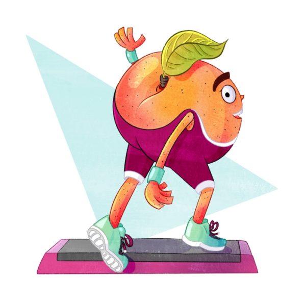 Illustration eines Pfirsichs im Gymnastikanzug, der Step-Aerobic macht.