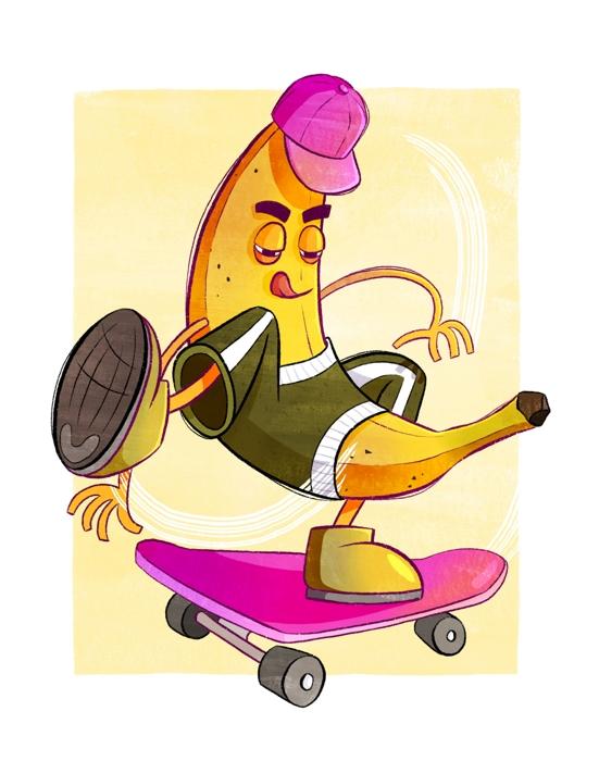 Illustration einer Banane auf einem Skateboard.